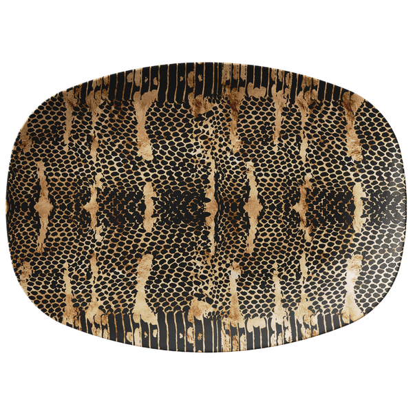Snakeskin Print Plastic Serving Platter Black / Gold / Tan