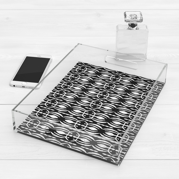 Modern Tribal Print Acrylic Lucite Tray, Black/White
