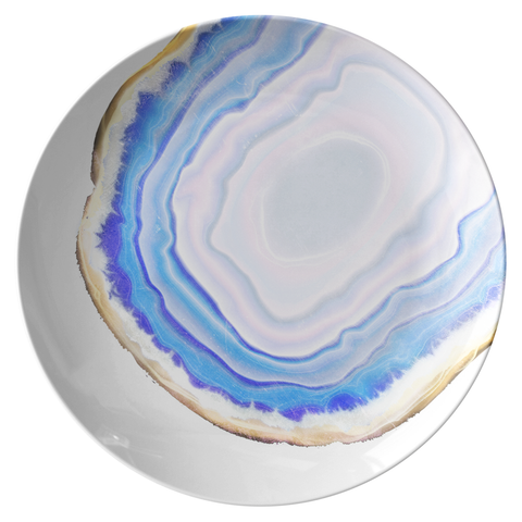 "Agate Print Dinnerware, Turquoise Blue 10"" Plate, ThermoSāf® Polymer Resin"