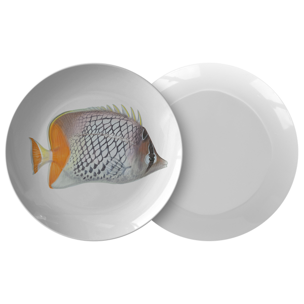 Tropical Fish Plastic Dinnerware Plate, White, Orange, Black Pattern Fish