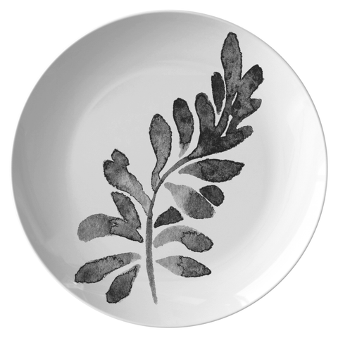 Watercolor Leaf Dinnerware, No. 1 Black & White