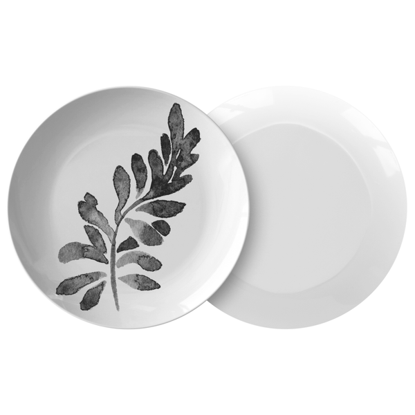 "Watercolor Leaf Dinnerware, No. 1 Black & White 10"" Plate, ThermoSaf"