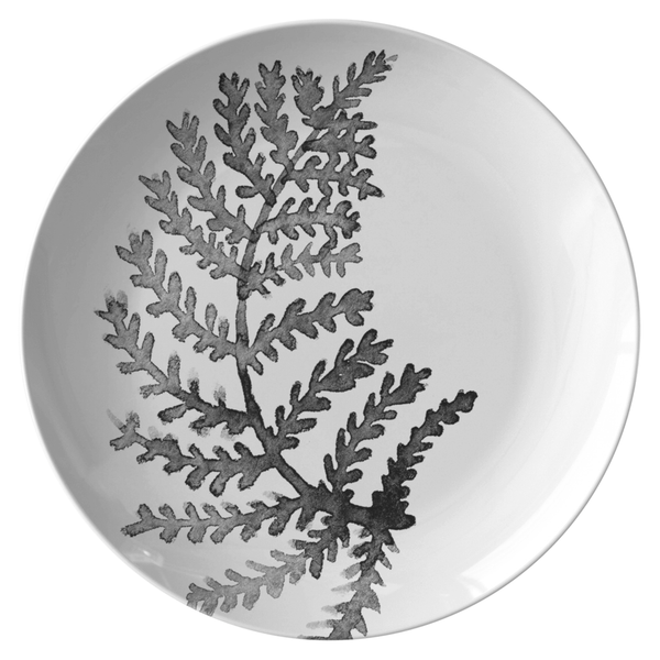 "Watercolor Leaf Dinnerware, No. 2 Black & White 10"" Plate"