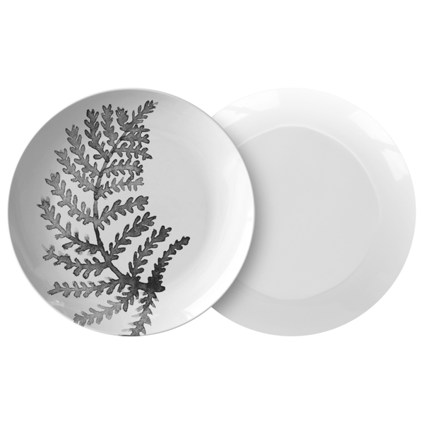 "Watercolor Fern Leaf Dinnerware, No. 2 Black & White 10"" Plate, ThermoSāf"