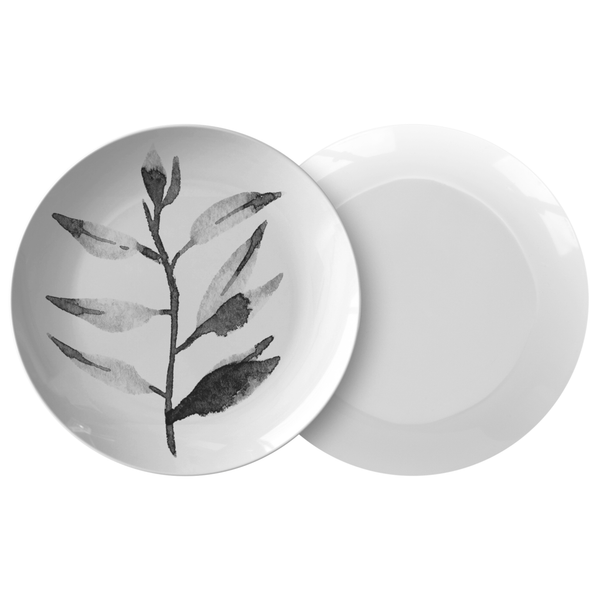 "Watercolor Leaf Dinnerware, No. 3 Black & White 10"" Plate, ThermoSāf® Polymer Resin"