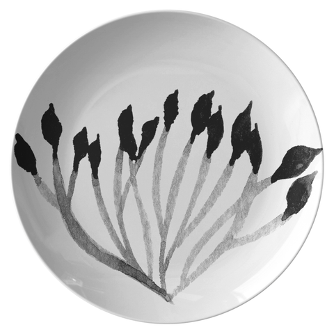 "Watercolor Leaf Dinnerware, No. 4 Black & White 10"" Plate, ThermoSāf® Polymer Resin"