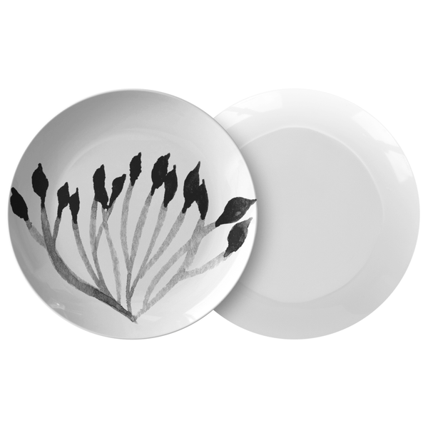 "Watercolor Leaves Dinnerware, No. 4 Black & White 10"" Plate"