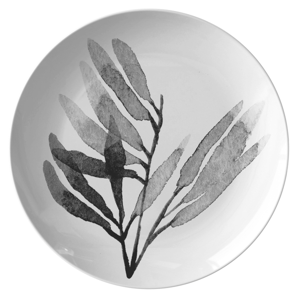 "Watercolor Leaf Dinnerware, No. 6 Black & White 10"" Plate, ThermoSāf® Polymer Resin"