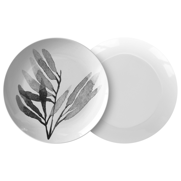 "Watercolor Leaves Dinnerware, No. 6 Black & White 10"" Plate, ThermoSaf"