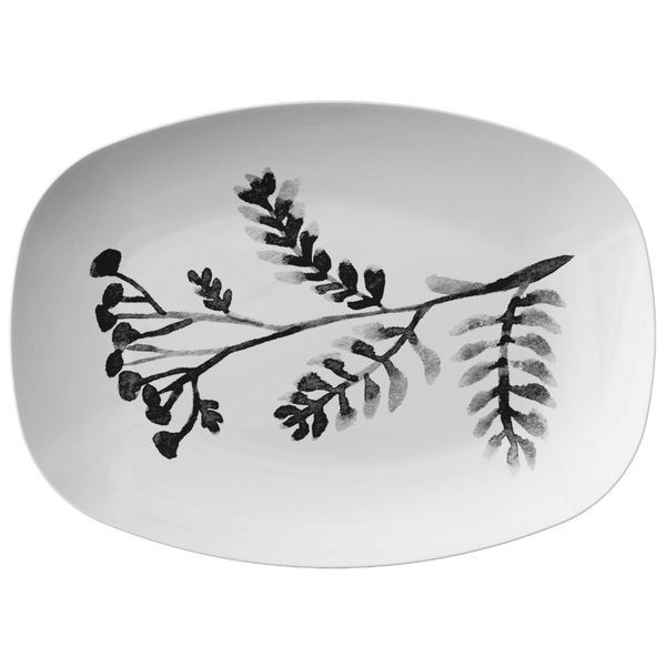 "Black & White Watercolor Leaves Serving Platter, 10"" x 14"", ThermoSaf"
