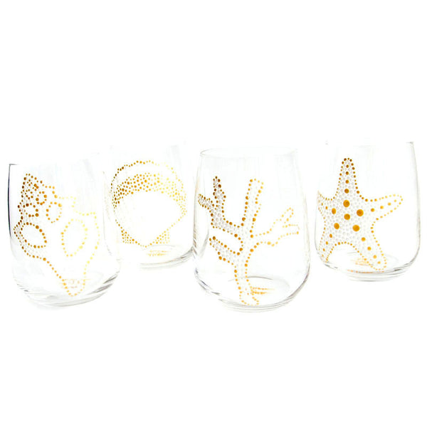 White & Gold Sea Motif Hand Painted Glasses