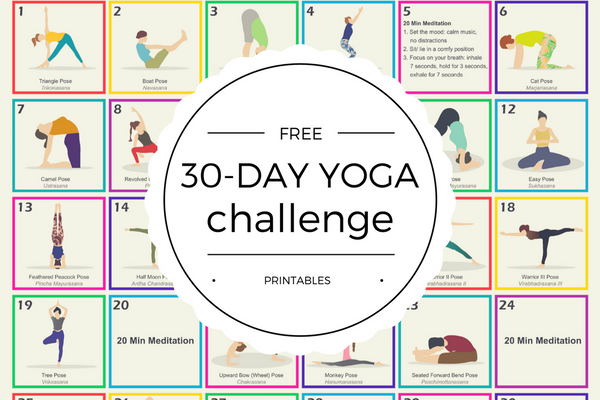 Free 30-Day Yoga Challenge Printables