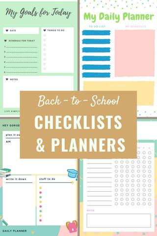 back to school checklists and planners
