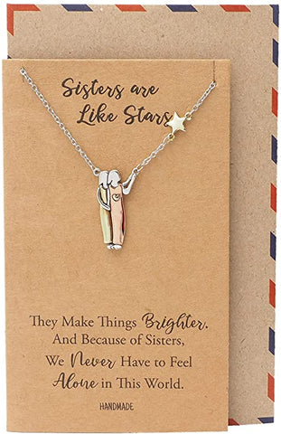 Quan Jewelry 2 Sisters and Star Pendant Necklace, Birthday Gifts for Women with Inspirational Quote on Greeting Card