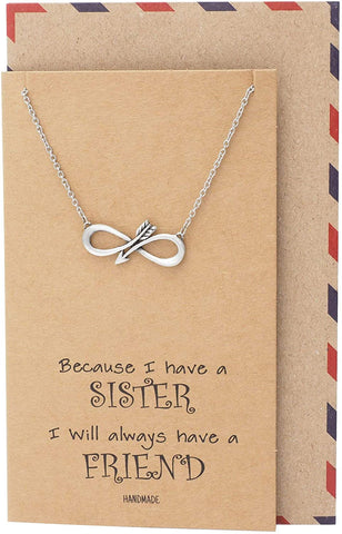Quan Jewelry Sister Infinity Arrow Pendant Necklace, Friendship Friends Forever Gifts, Birthday Gifts for Women, with Inspirational Quote on Greeting Card