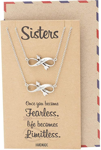 Quan Jewelry Infinity Arrow with Word Pendant Necklace Set for 2, Perfect Jewelry Necklace Gifts for Sisters, Bestfriends and BFFs, Motivational Charm with Inspirational Quote on Gift Card