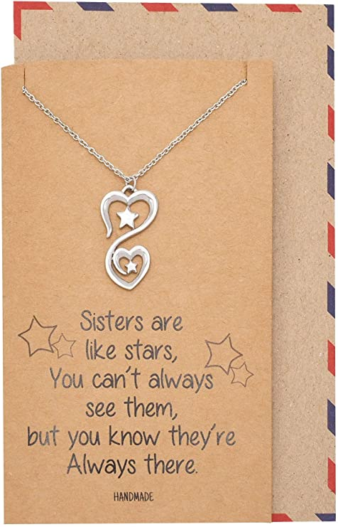 Wynter 2 Stars 2 Hearts Pendant Necklace, Sisters Necklaces, Gifts for Sister Quotes Greeting Card - Silver Tone