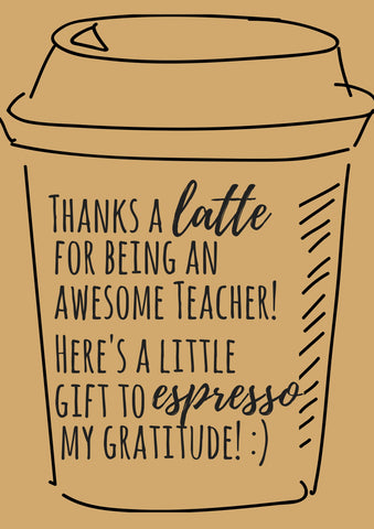 graphic relating to Thanks a Latte Printable identified as Absolutely free Printable Instructor Appreciation Thank oneself Playing cards - Quan