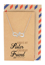 Morgan Infinity Arrow Necklace with Crystals, Sister Jewelry with Sister Quotes Greeting Card