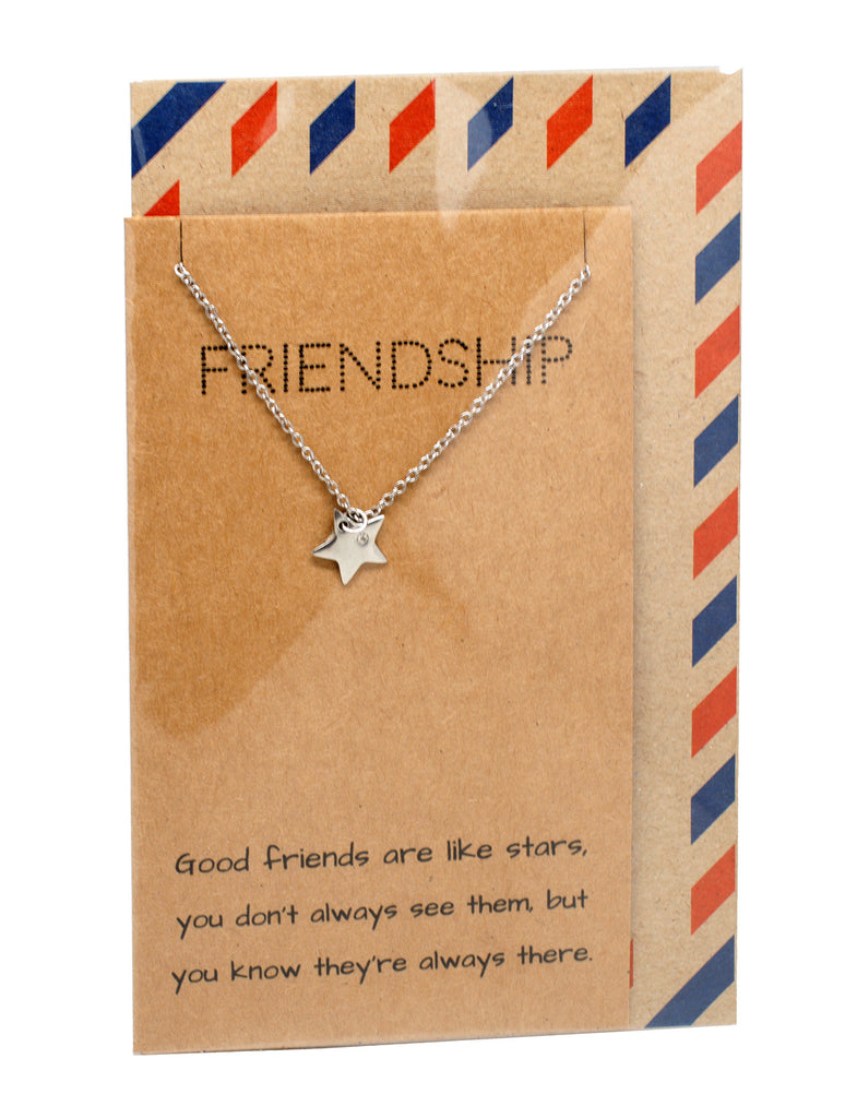 Ria Best Friend Necklaces with Star Pendant and Friendship Quotes Greeting Card,  - Quan Jewelry - 6