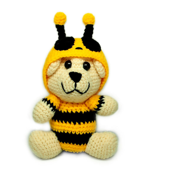 Bumble Bear Crochet Teddy Bear - Quan Jewelry