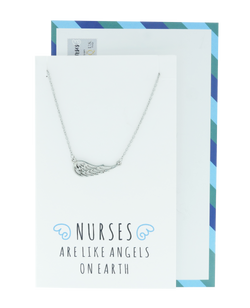 Riona Angel Wing Necklace, Gifts for Nurses, Sister Jewelry, Silver - Quan Jewelry