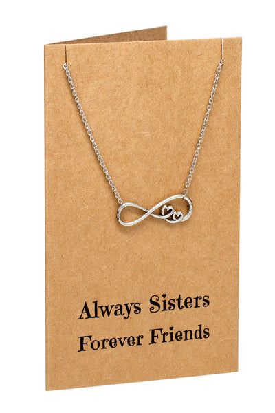 Chelsea Infinity Necklace, Sister Jewelry with Sister Quotes Greeting Card,  - Quan Jewelry - 1