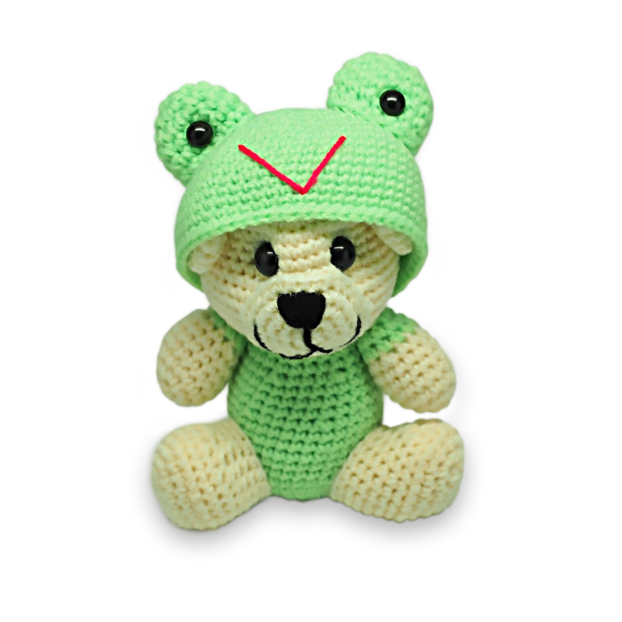 Tubby Froggy Crochet Teddy Bear, Handmade Teddy Bears - Quan Jewelry