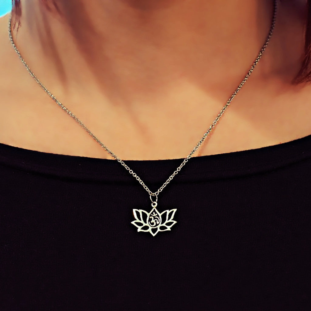 Amara Yoga Jewelry, Om Lotus Flower Necklace for Women,  - Quan Jewelry - 3