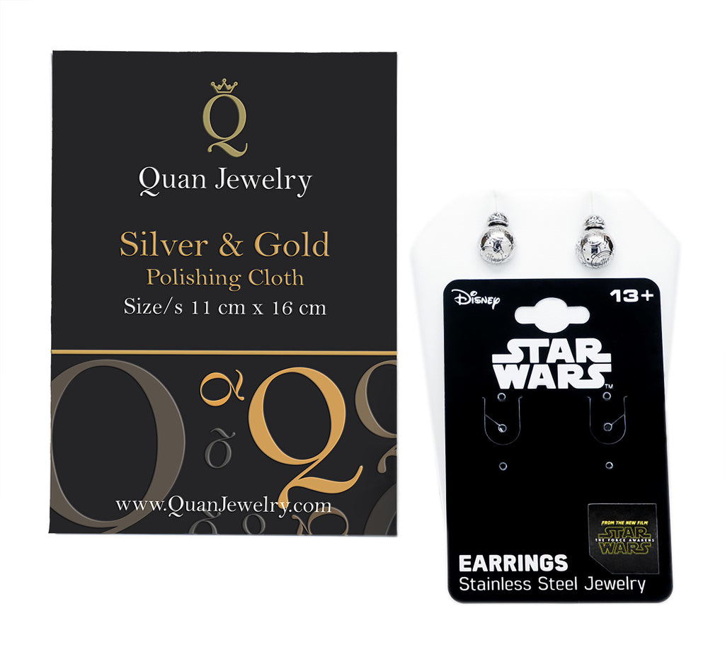 Star Wars Earrings, Stainless Steel Jewelry (with Silver Polishing Cloth) - Quan Jewelry