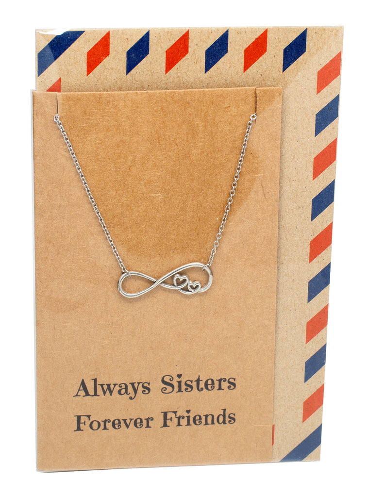 Chelsea Infinity Necklace, Sister Jewelry with Sister Quotes Greeting Card,  - Quan Jewelry - 6