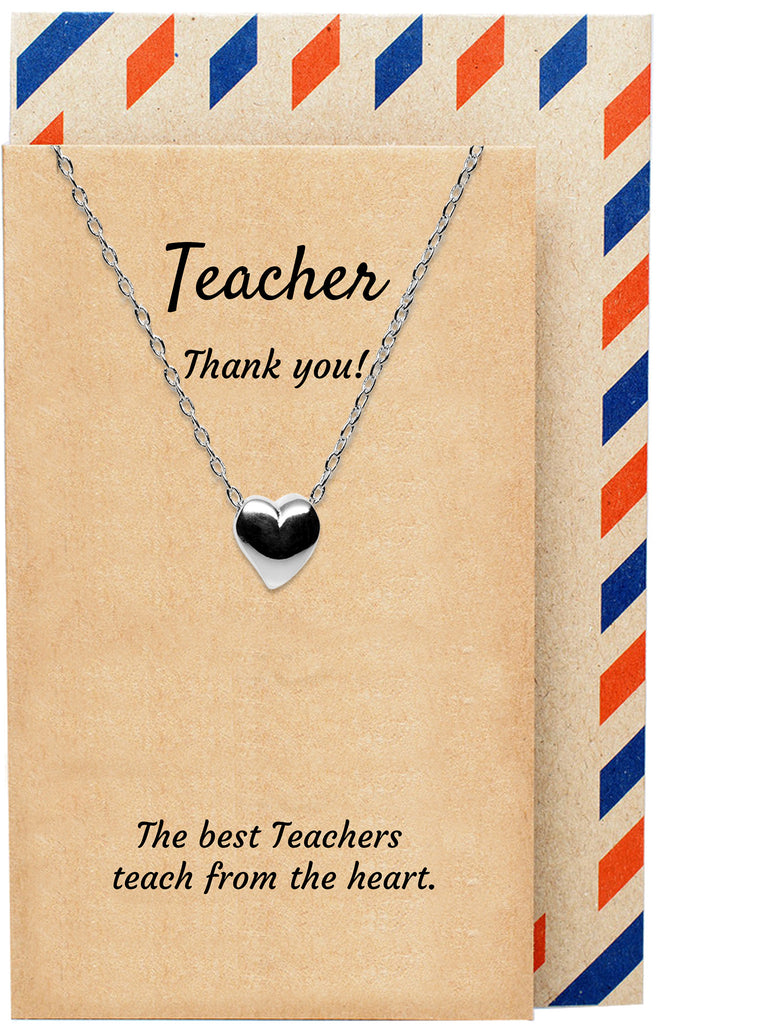 Amelina Teacher Gifts - Thank You Teacher Heart Necklace, 925 Sterling Silver - Quan Jewelry