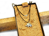Kayin Om Symbol Lucky Elephant Necklace in Waxed Cotton Cord, Handcrafted Jewelry, Greeting Card - Quan Jewelry