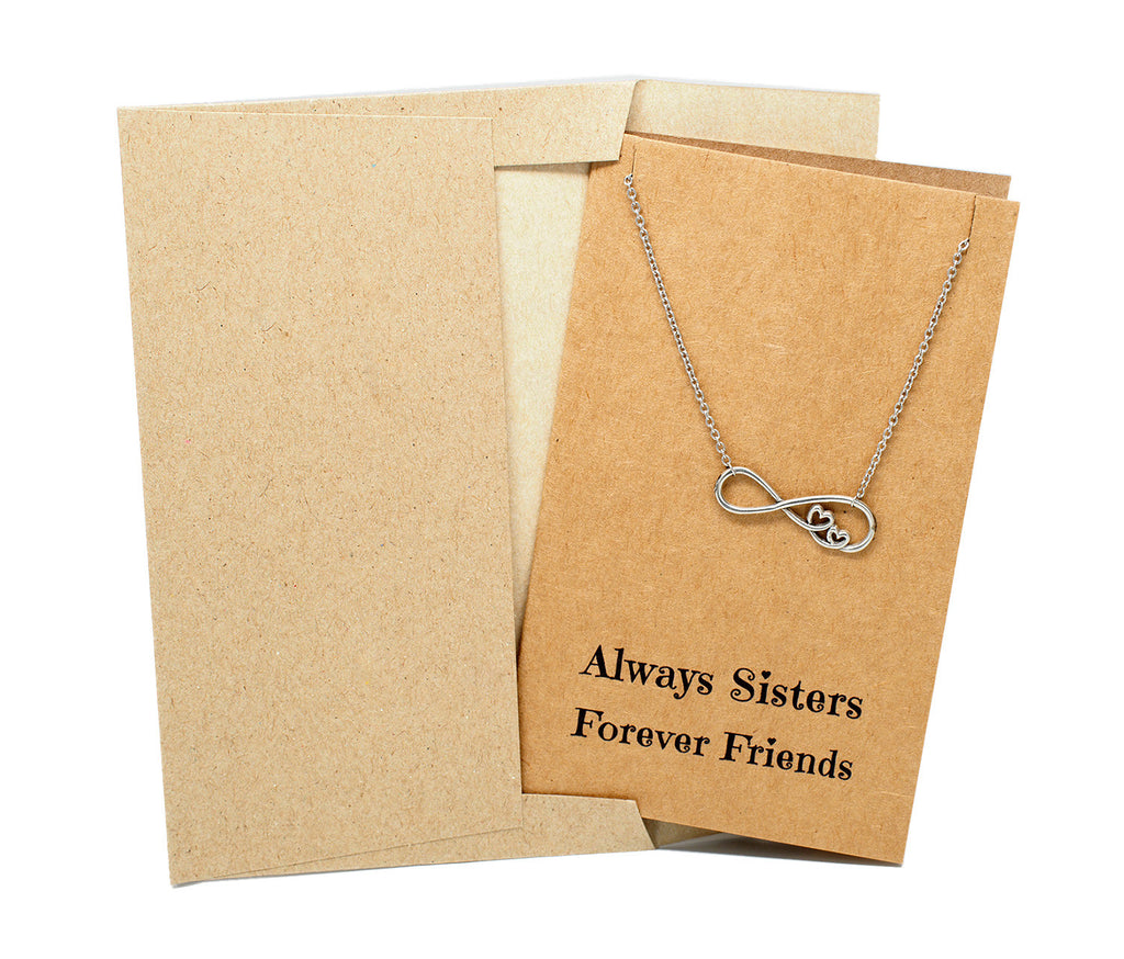 Chelsea Infinity Necklace, Sister Jewelry with Sister Quotes Greeting Card,  - Quan Jewelry - 5