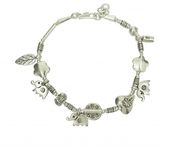 Niran Elephant Bracelet with 3 Lucky Elephant Charms - Quan Jewelry