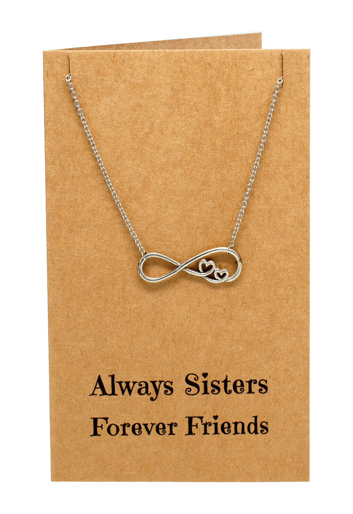 Chelsea Infinity Necklace, Sister Jewelry with Sister Quotes Greeting Card,  - Quan Jewelry - 3