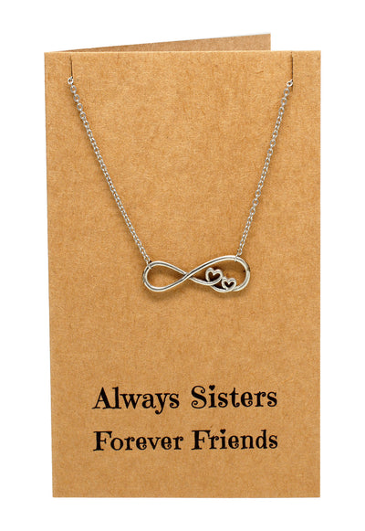 Chelsea Infinity Necklace, Sister Jewelry with Sister Quotes Greeting Card - Quan Jewelry