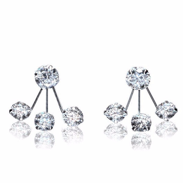 Clarisse Cubic Zirconia Stud Earrings for Women with Earring Jackets, 925 Sterling Silver - Quan Jewelry