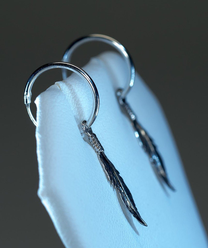 Sarah Hoop Feather Earrings, 925 Sterling Silver - Quan Jewelry