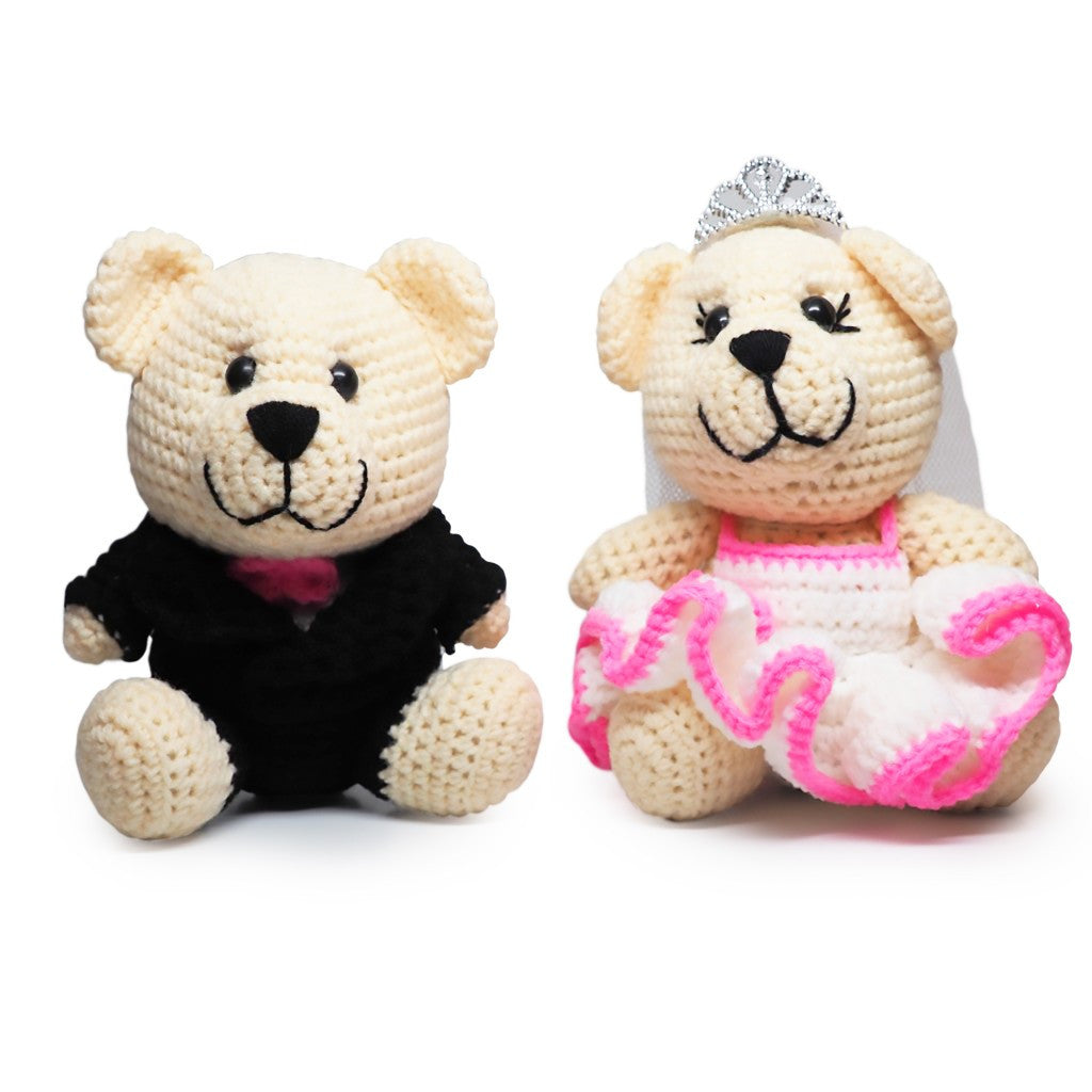 Mr. & Mrs. Bearly Weds Crochet Teddy Bears