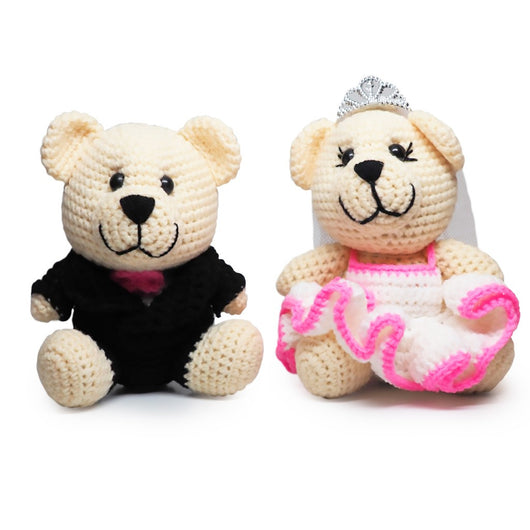 Mr. & Mrs. Bearly Weds Crochet Teddy Bears, Handmade Crochet Dolls - Quan Jewelry