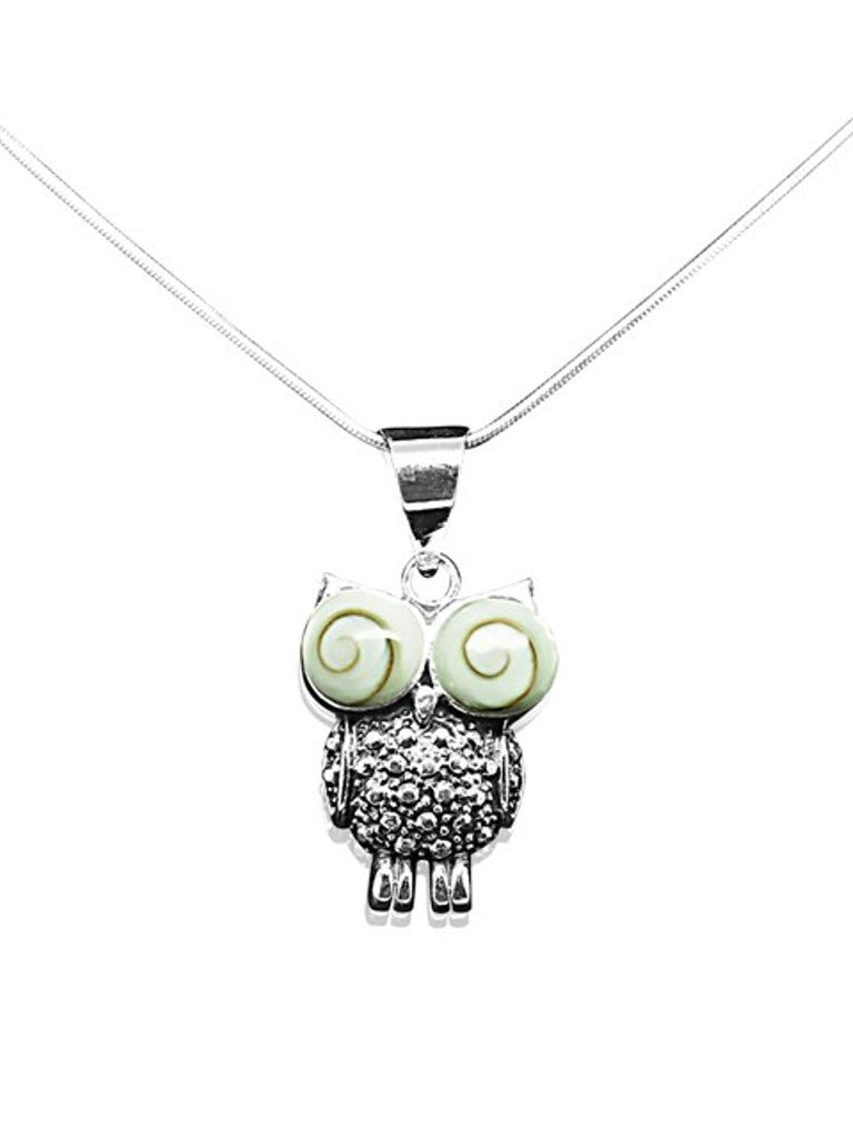 Janelle Owl Pendant Necklace, 925 Sterling Silver - Quan Jewelry