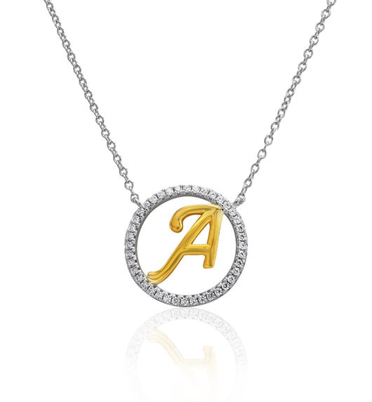 Zariah Initial Charm Necklace, 'A' Crowned Pendant Necklace, Two-toned, 925 Sterling Silver