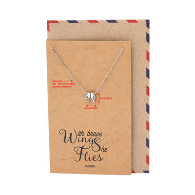 Afriel Angel Wing Necklace, Graduation Gifts with Greeting Card, Gifts for Her