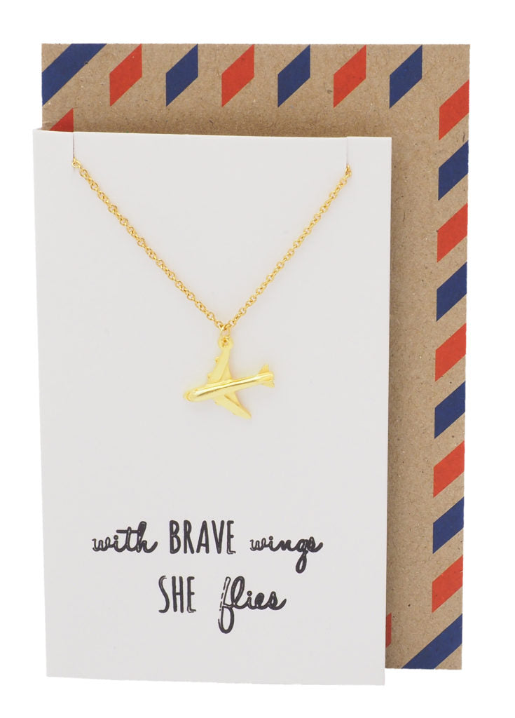 Janice She's Brave Necklace with Airplane Pendant, with Inspirational Quote - Quan Jewelry