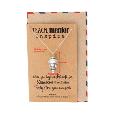 Anneli Lamp Pendant Necklace, Teach Mentor Inspire, Gifts For Women With Inspirational Quotes