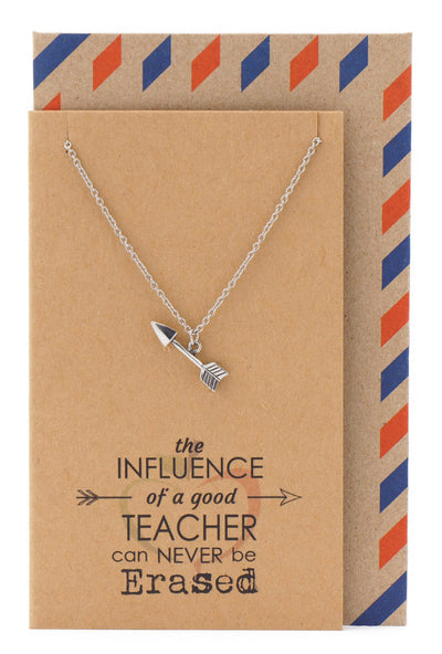 Katniss Teachers Gifts, Arrow Necklace and Inspirational Quote Card - Quan Jewelry