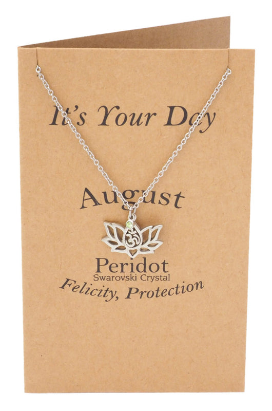 Kristine Lotus Flower August Birthstone Necklace For Women Om