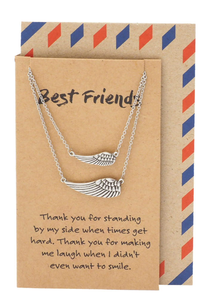 Kinsley Best Friend Necklaces for Women with Angel Wing Pendant, Silver Tone - Quan Jewelry