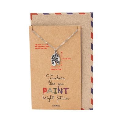 Berthe Teacher Gifts, Palette and Paintbrush Necklace with Greeting Card
